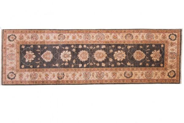 Afghan Chobi Ziegler 255x80 Handgeknüpft Teppich 80x260 Läufer Braun Orientalisch