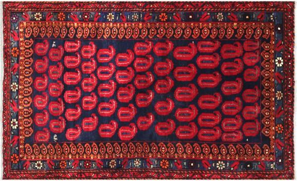 Perser Hamedan Teppich 120x180 Handgeknüpft Rot spiegelmuster Wolle Kurzflor Rug