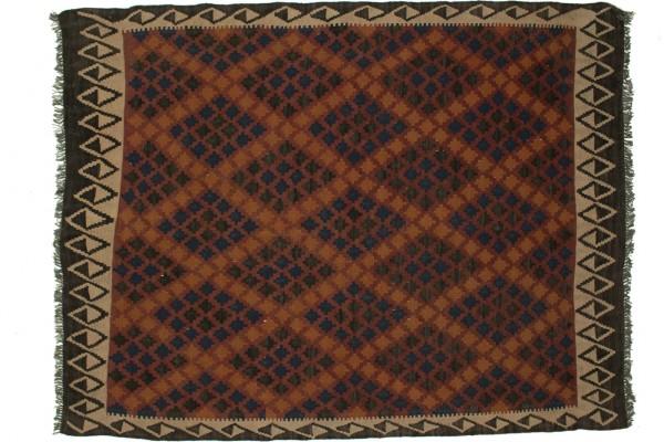 Afghan Maimana Kelim 196x154 Handgewebt Teppich 150x200 Mehrfarbig Geometrisch Muster