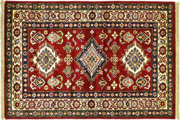 Afghan Kazak Fein 128x89 Handgeknüpft Orientteppich 90x130 Rot Umrandung Wolle Kurzflor