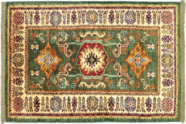Afghan Super Kazak 130x80 Handgeknüpft Orientteppich 80x130 Grün Umrandung Wolle