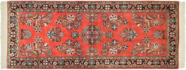 Sarough Teppich 80x190 Handgeknüpft Orange Floral Wolle Kurzflor Rug
