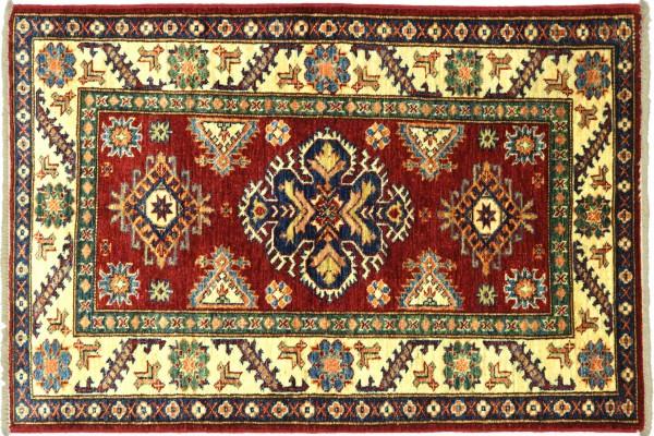 Afghan Kazak Fein 121x80 Handgeknüpft Orientteppich 80x120 Rot Umrandung Wolle Kurzflor