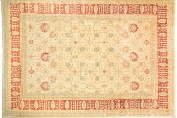 Afghan Chobi Ziegler 522x372 Handgeknüpft Teppich 370x520 Beige Blumenmuster Kurzflor