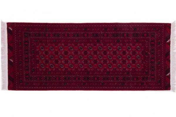 Afghan Mauri 193x80 Handgeknüpft Teppich 80x190 Rot Geometrisch Muster Kurzflor Orient