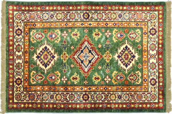 Afghan Super Kazak 124x82 Handgeknüpft Orientteppich 80x120 Grün Umrandung Wolle