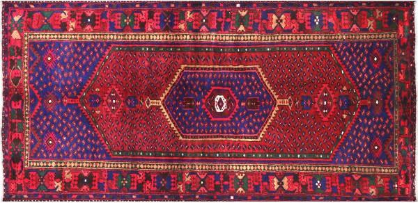 Perser Hamedan Teppich 130x240 Handgeknüpft Rot spiegelmuster Wolle Kurzflor Rug