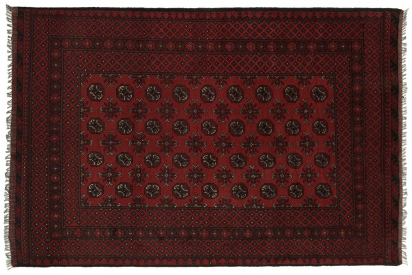 Afghan Aqcha 235x158 Handgeknüpft Teppich 160x240 Rot Orientalisch Kurzflor Orient Rug
