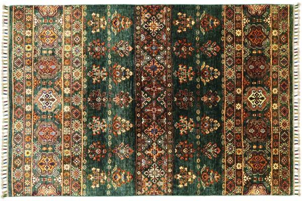 Afghan Khorjin Shaal 170x129 Handgeknüpft Orientteppich 130x170 Beige Floral Wolle