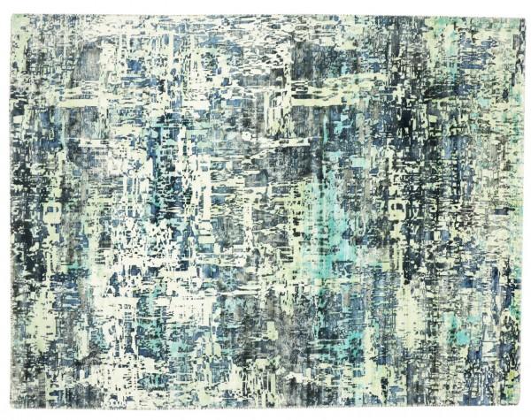 Handloom Vintage 220x160 Handgewebt Teppich 160x220 Blau Abstrakt Handarbeit Orient