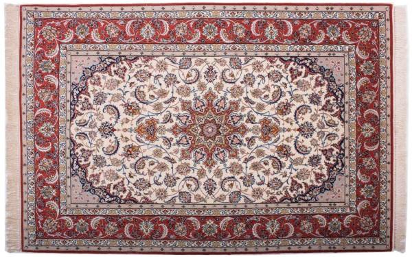 Perser Isfahan 227x151 Handgeknüpft Teppich 150x230 Mehrfarbig Orientalisch Kurzflor