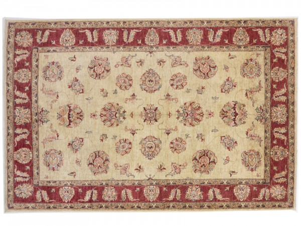 Afghan Chobi Ziegler 269x180 Handgeknüpft Teppich 180x270 Beige Orientalisch Kurzflor