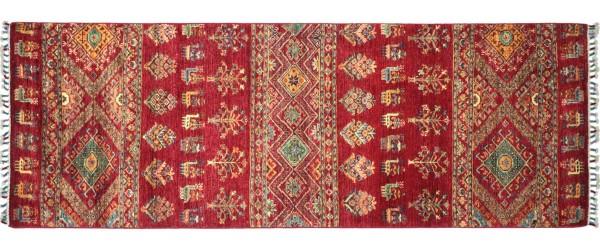 Afghan Ziegler Khorjin Tiere Teppich 90x230 Handgeknüpft Läufer Rot Geometrische Wolle