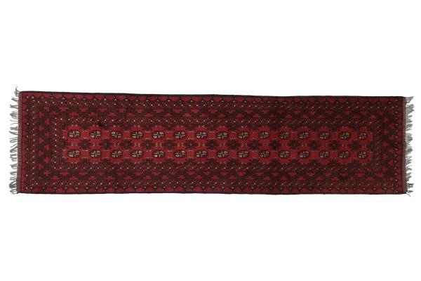 Afghan Aqcha 285x81 Handgeknüpft Teppich 80x290 Läufer Rot Geometrisch Kurzflor Orient