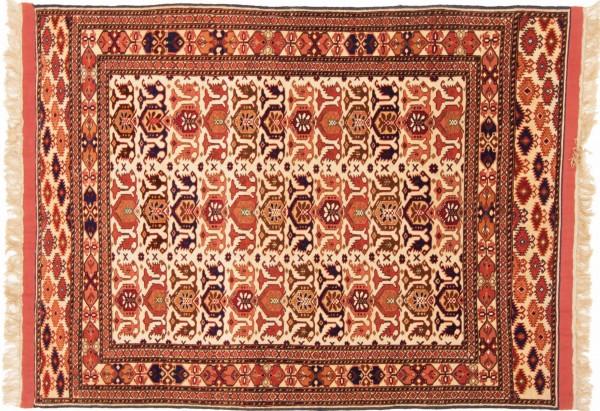 Afghan Mauri Kabul 155x118 Handgeknüpft Teppich 120x160 Gold Geometrisch Muster