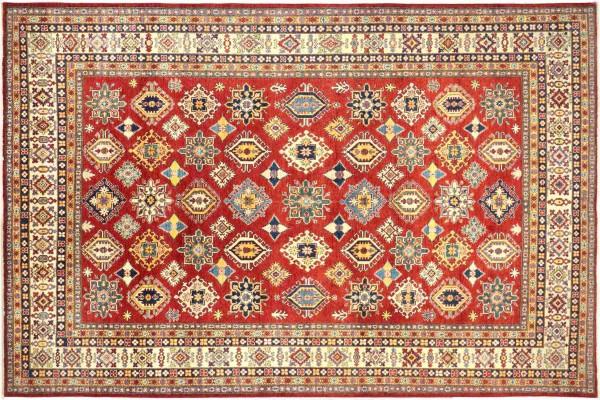 Afghan Kazak Fein 368x275 Handgeknüpft Orientteppich 280x370 Rot Geometrisch Wolle