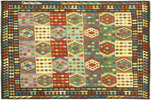 Afghan Maimana Kelim Bunt 296x249 Handgewebt Teppich 250x300 Bunt Geometrisch Orient