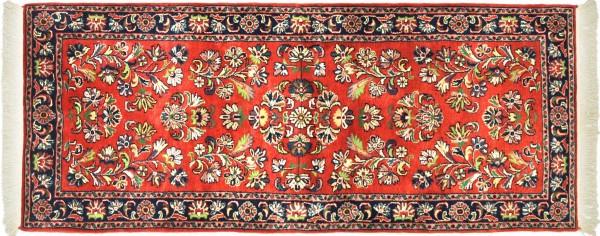 Sarough Teppich 80x190 Handgeknüpft Rosa Floral Wolle Kurzflor Rug