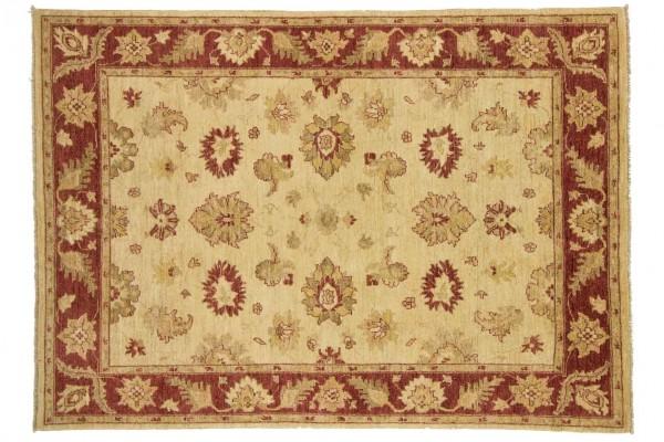 Afghan Chobi Ziegler 205x145 Handgeknüpft Teppich 150x210 Beige Blumenmuster Kurzflor