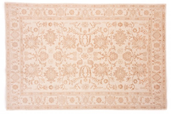Afghan Chobi Ziegler 294x197 Handgeknüpft Teppich 200x290 Beige Orientalisch Kurzflor