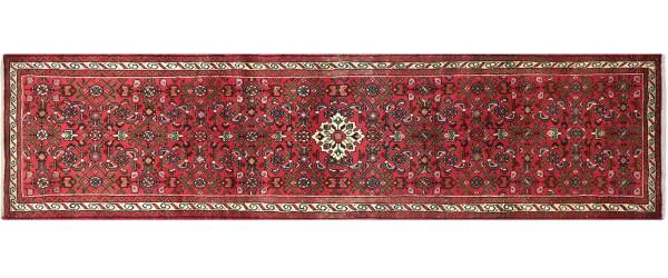 Perser Hamedan Teppich 80x290 Handgeknüpft Läufer Rot spiegelmuster Wolle Kurzflor Rug