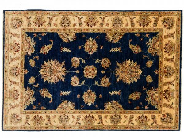 Afghan Chobi Ziegler 180x124 Handgeknüpft Teppich 120x180 Blau Blumenmuster Kurzflor