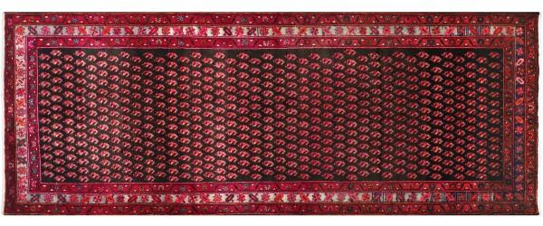 Perser Hamedan Teppich 120x300 Handgeknüpft Läufer Rot spiegelmuster Wolle Kurzflor Rug