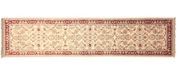 Afghan Chobi Ziegler 305x76 Handgeknüpft Teppich 80x310 Läufer Beige Orientalisch