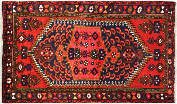 Perser Hamadan Blumen 131x91 Handgeknüpft Orientteppich 90x130 Rot Blumenmuster Wolle