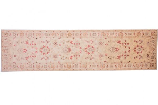 Afghan Chobi Ziegler 309x82 Handgeknüpft Teppich 80x310 Läufer Beige Orientalisch