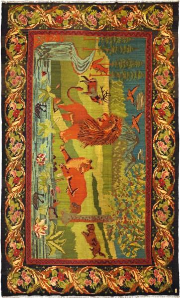 Moldawien Kelim Löwe 350x235 Handgewebt Teppich 240x350 Bunt Tiermotive Orient Wolle