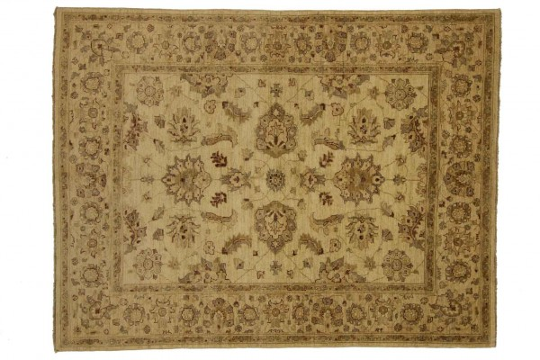 Afghan Chobi Ziegler 194x151 Handgeknüpft Teppich 150x190 Beige Orientalisch Kurzflor