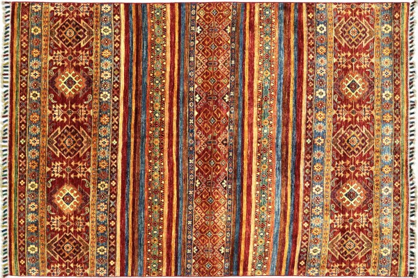 Afghan Ziegler Khorjin 205x153 Handgeknüpft Orientteppich 150x210 Rot Streifen Wolle