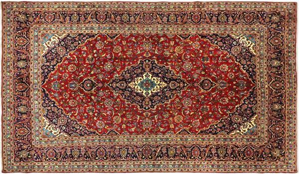 Perser Keshan 375x240 Handgeknüpft Orientteppich 240x380 Rot Spiegelmuster Wolle