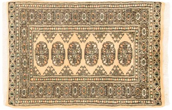 Pakistan Buchara 87x61 Handgeknüpft Teppich 60x90 Beige Geometrisch Muster Kurzflor