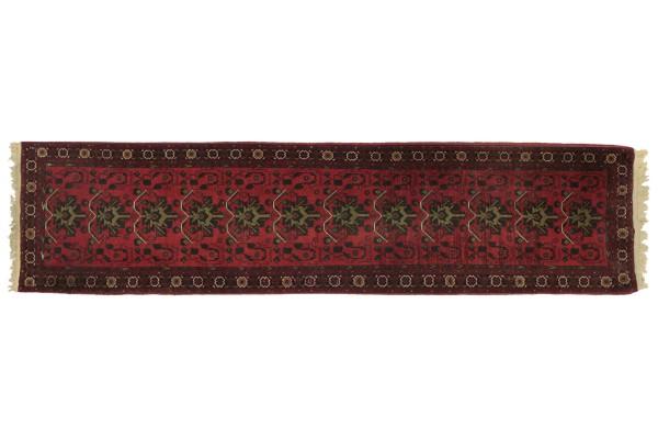 Afghan Mazar 339x80 Handgeknüpft Teppich 80x340 Läufer Rot Geometrisch Kurzflor Orient