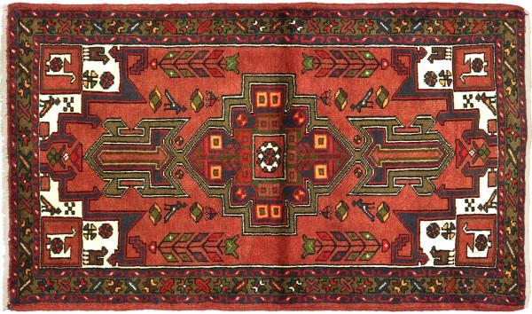Perser Hamadan Tiere 148x100 Handgeknüpft Orientteppich 100x150 Rot Medaillon Wolle