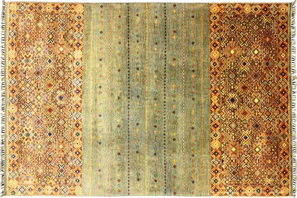 Afghan Khorjin Shaal 299x199 Handgeknüpft Orientteppich 200x300 Grau Streifen Wolle