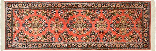 Sarough Teppich 70x200 Handgeknüpft Läufer Orange Floral Wolle Kurzflor Rug