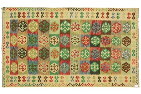 Afghan Maimana Kelim Bunt 296x193 Handgewebt Teppich 190x300 Bunt Geometrisch Orient