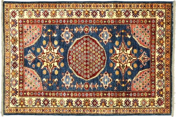 Afghan Kazak Fein 118x87 Handgeknüpft Orientteppich 90x120 Blau Umrandung Wolle