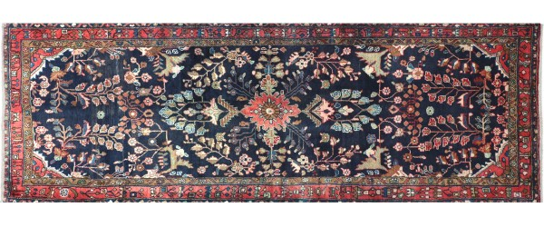 Perser Hamedan Teppich 110x310 Handgeknüpft Läufer Dunkelblau spiegelmuster Wolle
