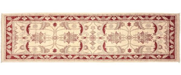 Afghan Chobi Ziegler 260x83 Handgeknüpft Teppich 80x260 Läufer Beige Blumenmuster