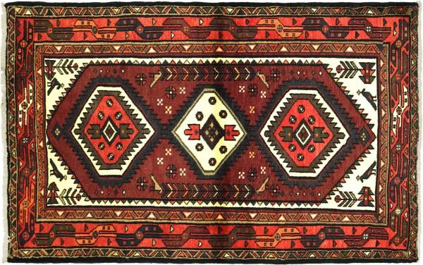 Perser Hamadan Vogel 146x103 Handgeknüpft Orientteppich 100x150 Rot Medaillon Wolle