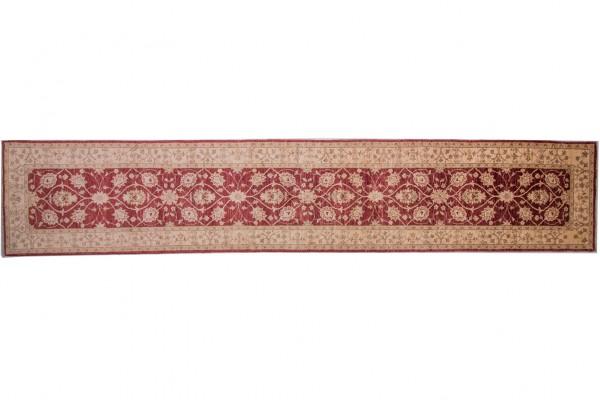 Afghan Chobi Ziegler 453x80 Handgeknüpft Teppich 80x450 Läufer Rot Orientalisch