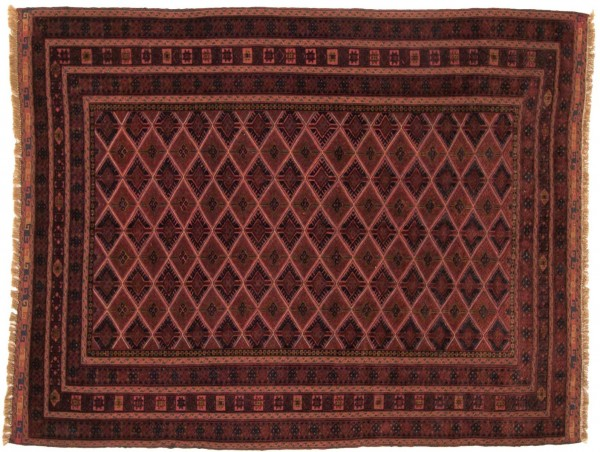 Afghan Mushwani Kelim 191x150 Handgewebt Teppich 150x190 Rot Geometrisch Muster