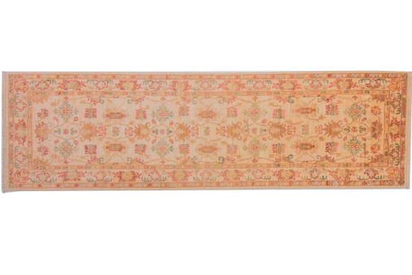 Afghan Chobi Ziegler 253x75 Handgeknüpft Teppich 80x250 Läufer Beige Orientalisch