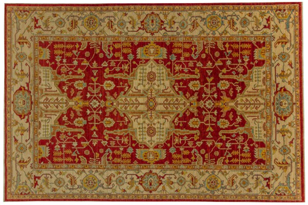 Afghan Chobi Ziegler 284x190 Handgeknüpft Teppich 190x280 Rot Orientalisch Kurzflor