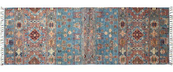 Afghan Khorjin Ziegler Floral Teppich 80x210 Handgeknüpft Läufer Blau Geometrische