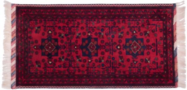 Afghan Belgique Khal Mohammadi 100x50 Handgeknüpft Teppich 50x100 Rot Geometrisch